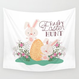 Happy Easter Bunny Rabbits Eggs and Pink Flowers 3 Wall Tapestry