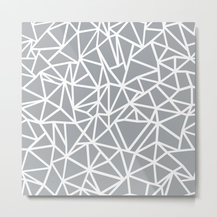 Abstract Outline Thick White on Grey Metal Print