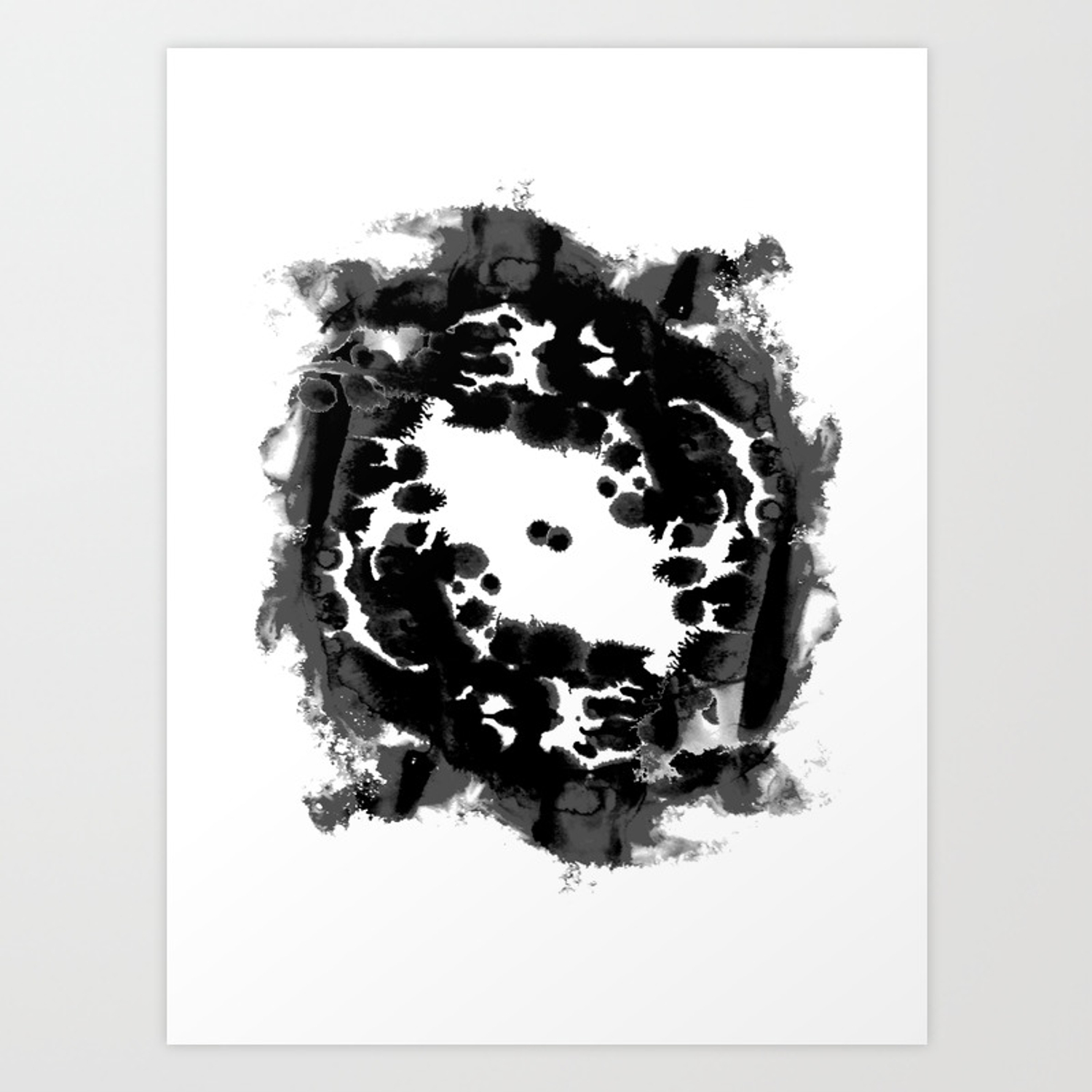 Enso black and white minimal watercolor japanese abstract painting zen art art print