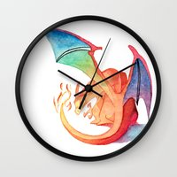 charizard Wall Clocks featuring Charizard by Natalie Huber