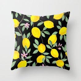 Lemon and Blossoms on Black Throw Pillow
