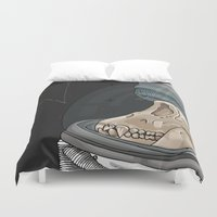 outer space Duvet Covers featuring Creatures from outer space by Steph Bourne