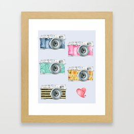 Five Vintage Cameras in Watercolor Framed Art Print