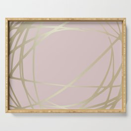 Blush Pink and Gold Circles and Swirls Abstract Pattern Serving Tray