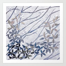 Kimono Inspired leaves and branches print blue toned Art Print