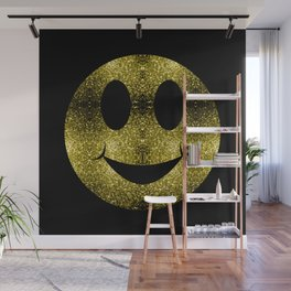 Sparkly Smiley Yellow Gold sparkles Wall Mural