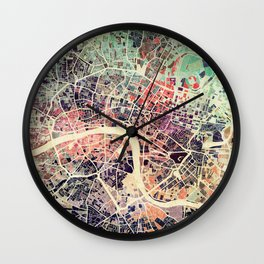 London Mosaic Map #1 Wall Clock