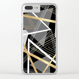 Original Gray and Gold Abstract Geometric Clear iPhone Case