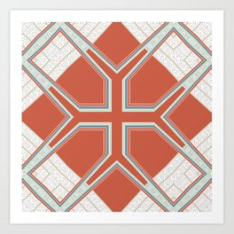 Coral Ornate Pattern Design Art Print