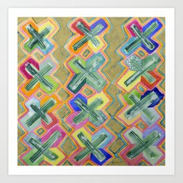 Colorful X-Pattern Art Print