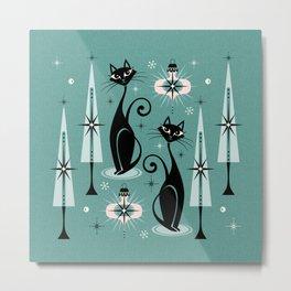 Mid Century Meow Atomic Kitty Christmas ©studioxtine Metal Print