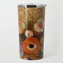 "Odilon Redon ""Wildflowers in a Long Necked Vase"" Travel Mug"