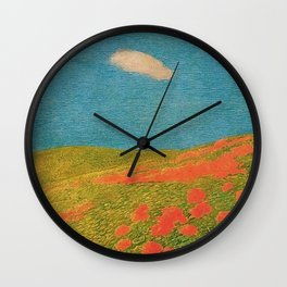 Red Poppies Tuscany Pastoral Landscape by Gaetano Previati Wall Clock