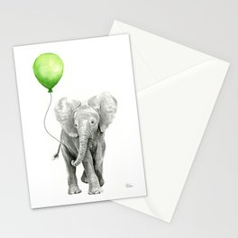 Baby Elephant with Green Balloon Stationery Cards