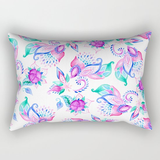 Modern pink turquoise hand painted floral paisley pattern illustration  Rectangular Pillow