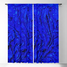Indigo Lovely Calm Blue, Moroccan Traditional Texture Painting (N30) Blackout Curtain