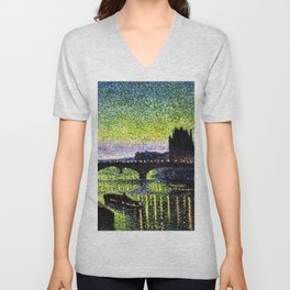 The Louvre and Pont du Carrousel at Night by Maximilian Luce Unisex V-Neck