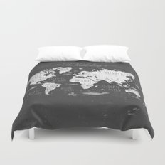 The World Map B/W Duvet Cover
