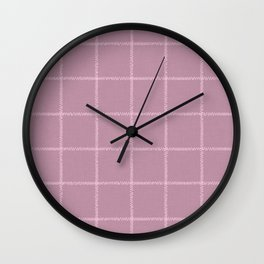 French Pink Linen Check Wall Clock