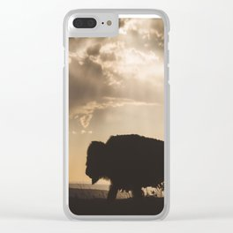 Bison in the Storm - Badlands National Park Clear iPhone Case