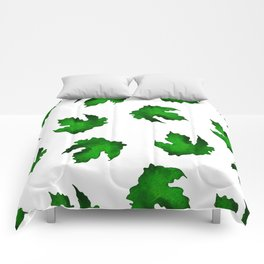 Eco green leaves pattern on white background Comforters
