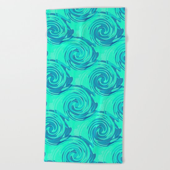 Abstract pattern in turquoise and blue tones. Beach Towel