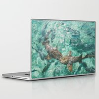 sharks Laptop & iPad Skins featuring Sharks by Chelle Wootten