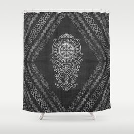 Vegvisir  with Tree of life  Yggdrasil  and Runes Shower Curtain