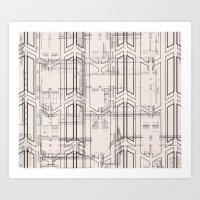 blueprint Art Prints featuring Blueprint by hoopderscotch