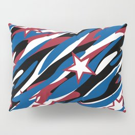 Patriotic Camouflage Red White and Blue with Stars American Pride Abstract Pattern Pillow Sham