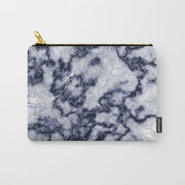 Blue & Gray Marble Texture Carry-All Pouch