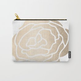 Rose White Gold Sands on White Carry-All Pouch