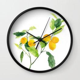 Lemon Branch Watercolor  Wall Clock