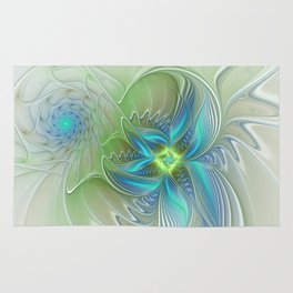 Flying Away, Abstract Shining Fractal Art Rug