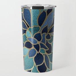 Festive, Floral Prints, Navy Blue, Teal and Gold Travel Mug