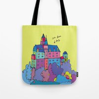 castle in the sky Tote Bags featuring castle by PINT GRAPHICS