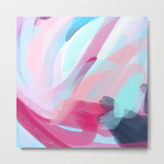 Pastel Abstract Brushstrokes Metal Print