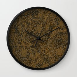Vintage Art Nouveau woodcut on faux leather pattern Wall Clock