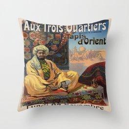 Vintage poster - Aux Trois Quartiers Throw Pillow