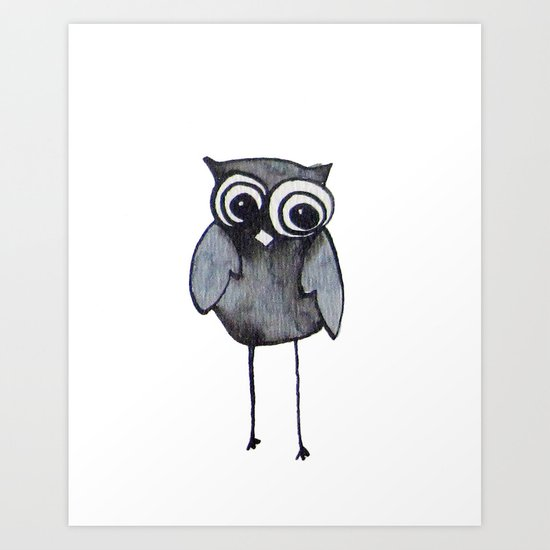The Friendly Owl - White Background Art Print