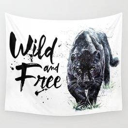 Panther watercolor painting predator animals puma jaguar wild & fre Wall Tapestry