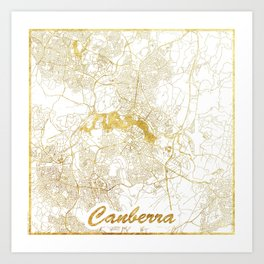 Canberra Map Gold Art Print