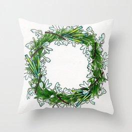 Snow drop flowers, green tourmaline crystals and garnet holiday wreath Throw Pillow