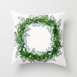 Snow drop flowers, green tourmaline crystals and garnet holiday wreath Throw Pillow