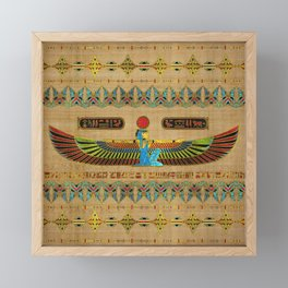 Egyptian Goddess Isis Ornament on papyrus Framed Mini Art Print
