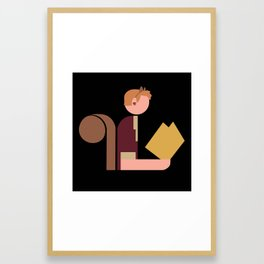 Squirrel Lady Reads Framed Art Print