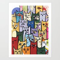 a lot of cats Art Prints featuring Cats a Lot by grrrenadine