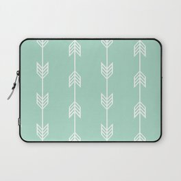Running Arrows in White and Mint Laptop Sleeve