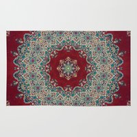 red Area & Throw Rugs featuring Mandala Nada Brahma  by Elias Zacarias