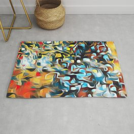 Red and yellow abstract rain  Rug